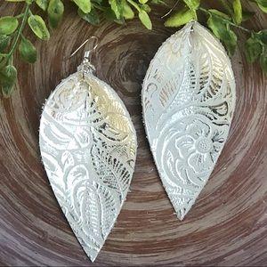 Jewelry - Real Leather Petal Earrings JoJo Embossed NEW